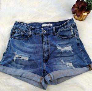 KanCan High Rise Distressed Denim Shorts Size 29